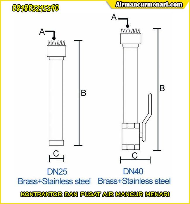 Ukuran Nozzle air mancur silver tassel nozzle